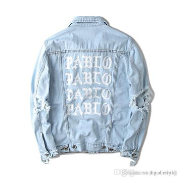 Hot sales KANYE west Jacket album PABLO denim jacket washing do old damaging yeezus Big broken suprme & apes men Jackets