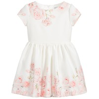 Girls White & Pink Rose Dress