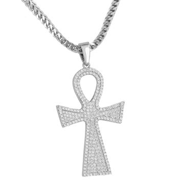 Cross Ankh Pendant Fully Iced Out Silver Tone Free Stainless Steel Necklace