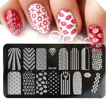 1pcs Lips/Wave Nail Art Stamping Image Template Plate Stainless Steel DIY Stamp Polish Printing Stencils Manicure Tools LAXYJ10