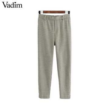 Women vintage hounds tooth plaid pants elastic waist pockets chic ladies fashion casual autumn street wear trousers