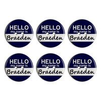 Braeden Hello My Name Is Plastic Resin Button Set of 6