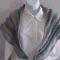Spring pastels knitted triangle shawl