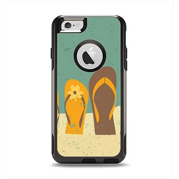The Vintage His & Her Flip Flops Beach Scene Apple iPhone 6 Otterbox Commuter Case Skin Set