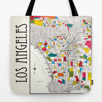 Los Angeles Map Tote Bag, Street Map travel theme tote, everything bag, colorful allover print, gift for mom, beach bag, travel bag