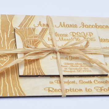 Wooden Engraved Rustic Country Tree Wedding Invitation and RSVP Card Set