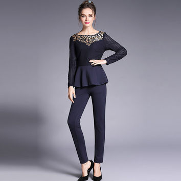 Women Sequined Peplum Top and Pant Set Two Piece Outfit Plus Size Clothing l to 5xl