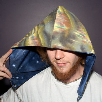 Festival hood - reversible with interchangeable chain - Aurora Borealis