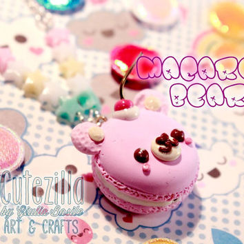 Pastel macaron bear necklace with cherry - kawaii food - by Giuliart
