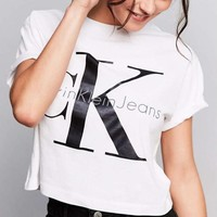 calvin klein round neck tops crop top short sleeve t shirt-1