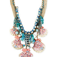 Betsey Johnson Gold-Tone Crystal, Imitation Pearl and Shell Frontal Necklace