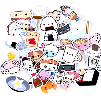 36pcs Self-made Sushi Rice Food Coffee Bread Scrapbooking Stickers Fruits DIY Craft Sticker Pack Photo Albums Deco Diary Deco