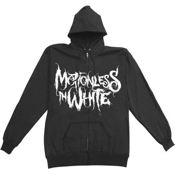 Motionless In White Men's  Logo Zippered Hooded Sweatshirt Black Rockabilia