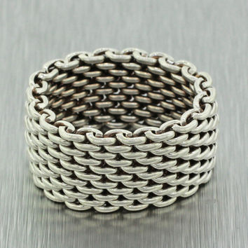 Authentic Tiffany & Co. Sterling Silver 925 Somerset Mesh Ring SZ 6.0