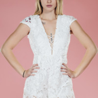 White Rose Lace Romper