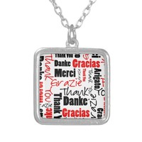 Red Black Thank You Word Cloud Silver Plated Necklace