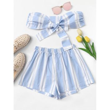 Knot Front Striped Top With Shorts