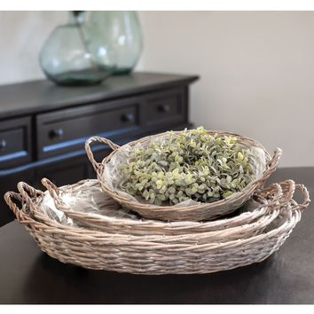 Gray Willow Round Baskets   Set Of 4