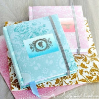 Small fabric notebook Blue notebook Pink notebook Flowers journal Notebook floral Mini journal handmade Embossing cover journal fabric