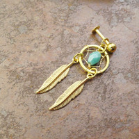 Turquoise Gold Dream Catcher Tragus Piercing Cartilage Barbell