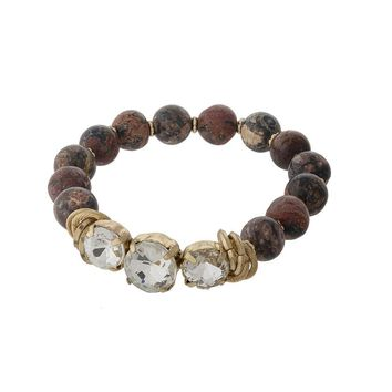 Rhodonite Natural Stone Beaded Stretch Bracelet with Clear Rhinestones