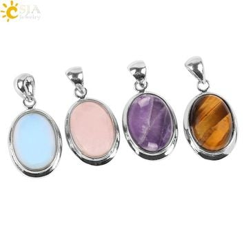 CSJA 2016 Love Summer Egg Shape Decoration Tiger Eye Opal Stone Statement Necklace Suspension Charms Pendant Female Gift E083