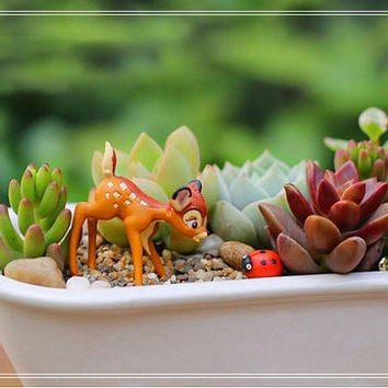2pc Set Miniature Fawn Bambi and Ladybug Figurine Fairy Garden Accessories  Dollhouse Decor toy Terrarium Suppliers