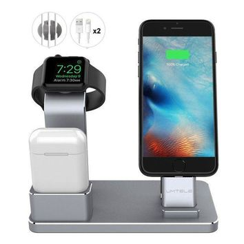 Umtele Apple Watch Stand Apple Watch Charging Stand Airpods Stand Charging Docks Holder For Apple Watch Series 3/2/1/ Iphone X/8/8plus/7/7 Plus /6s /6s Plus/ Airpods/ Ipad Space Gray