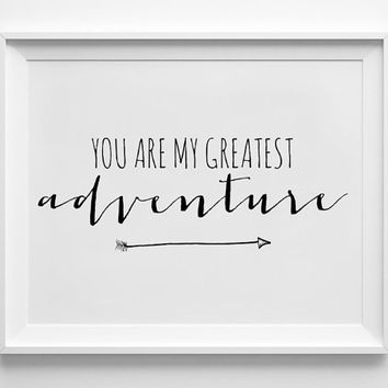 You Are My Greatest Adventure 8x10 Printable Wall Art - Digital Typography - Wall Decor - Faux Gold Texture - Black Text