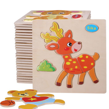 1 Pcs 26 Animals Shapes Jigsaw Hot Wooden Toys For Children Baby Kids Intelligence Educational Toys Cartoon Fallout Toy Puzzle