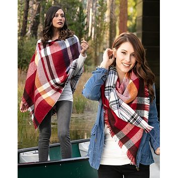 Grace & Lace Reversible Button Scarf/Poncho (Red Plaid)