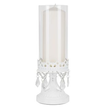 12.75 Inch Crystal-Draped Rustic Glass Hurricane Candle Holder (White)