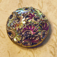 Vintage cabochons (1) glass cabs iris carnival glass gold  purple  18mm round button domed (1)