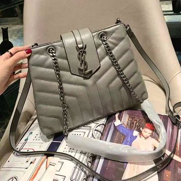 YSL High Quality Fashionable Women Shopping Leather Metal Chain Handbag Crossbody Satchel Shoulder Bag Grey