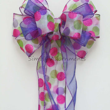 Pink Purple Green Wedding bow Church Pew Bow Easter Christmas Wreath Bow Garland Bow Wedding Chair Bow Birthday Shower party Decorations