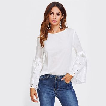 Belted Eyelet Embroidered Flare Sleeve Blouse