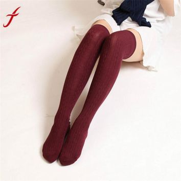 Feitong 60-80cm Stockings	Women Winter Knitted Warmers Over knee Long Boot Thigh-High Warm thigh high socks medias