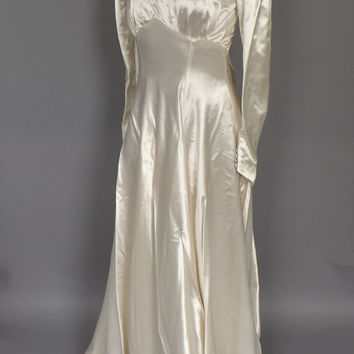 Vintage 1940's Ivory Satin Wedding Gown 30s Fitted Long Sleeve Pearl Beaded Dress Small 40s Art Decco Antique Gown White Fall Wedding Dress