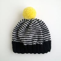 The Stripe-A-Thon Hat in Black, White, Neon Yellow - MADE TO ORDER