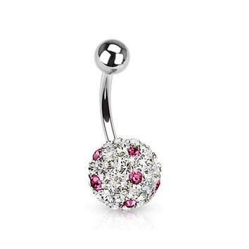 Clear/Pink Ferido Crystal Polka Dots Ball Belly Ring