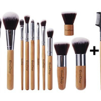 12 pc Makeup Kabuki Brush Set Professional Bamboo Handle Premium Cosmetic Foundation Kit