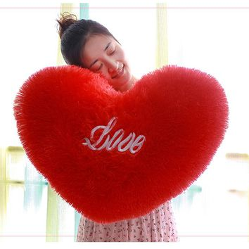 Love Pillow Plush Toy Red Heart Shaped Car Cushion Wedding Birthday Gift Dancing Prop
