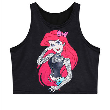 Harajuku zipper women's cute cartoon spoof Mermaid print AA style Bustier Crop Top high waist t-shirt cotton blouse top