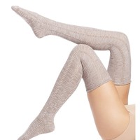 Pointelle Over The Knee Socks, Khaki