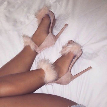 Faux Fur Ankle Strap Single Sole Stiletto Heel - Pink & White
