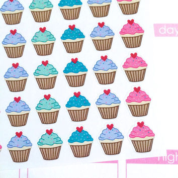 Birthday Cupcake Planner Stickers- 30 count