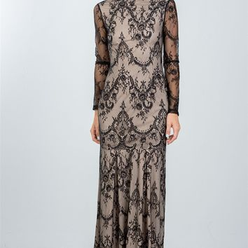 Black Lace Nude Illusion Open Back Maxi Dress