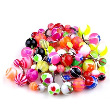 Mixed Color Stainless Steel Pole w/ Resin Balls Body Jewelry - Belly / Tongue - Ring/Bar - 5 PCS