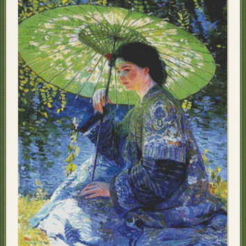 The green parasol - Counted cross stitch pattern in PDF format