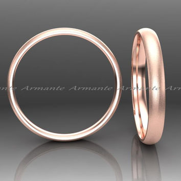 2.50mm Wide Classic Wedding Band, 14k Solid Rose Gold Hand Made Wedding Ring Stuck Band